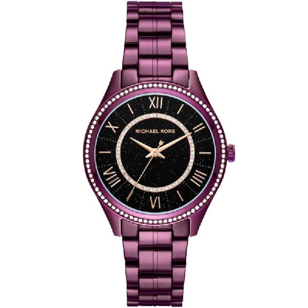 Michael Kors Black Plum Plated Steel Lauryn Mk3724 Women's Wristwatch 38mm