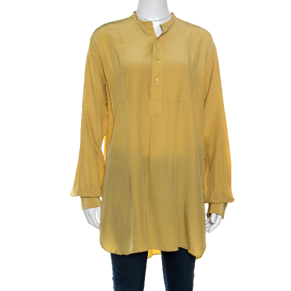 Joseph Mustard Yellow Silk Crepe De Chine Long Sleeve Maine Shirt L