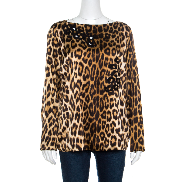 Blumarine Brown Leopard Printed Silk Cutout Detail Embellished Contrast Lined Blouse L