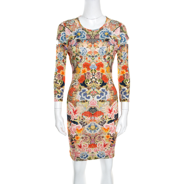 Alexander Mcqueen Floral Printed Jersey Cutout Sleeve Detail Bodycon Dress S In Multicolor