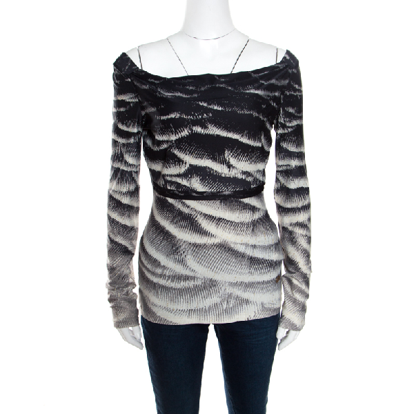 Roberto Cavalli Monochrome Metallic Abstract Printed Knit Cowl Neck Top S In Multicolor
