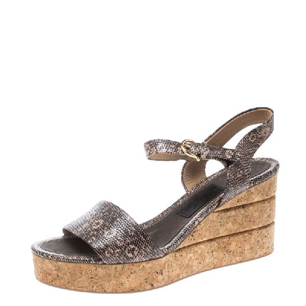 Salvatore Ferragamo Two Tone Embossed Lizard Leather Madea Cork Wedge Sandals Size 40 In Grey