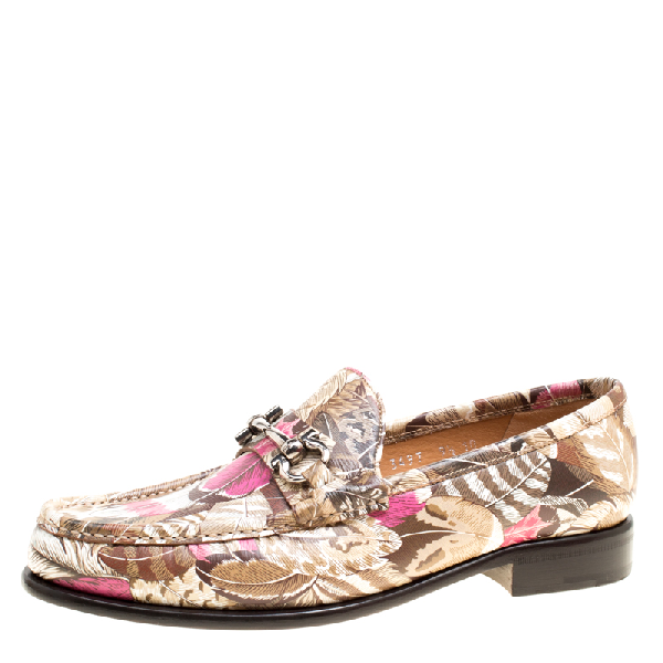 Salvatore Ferragamo Women Printed Leather Mason Gancio Bit Loafers Size 40 In Multicolor