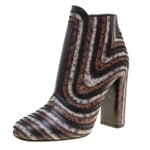Salvatore Ferragamo Multicolor Leather Feeling Zig Zag Block Heel Ankle Boots Size 40.5