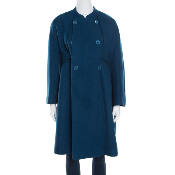 Carven Blue Wool And Cashmere Double Breasted Belted Coat M