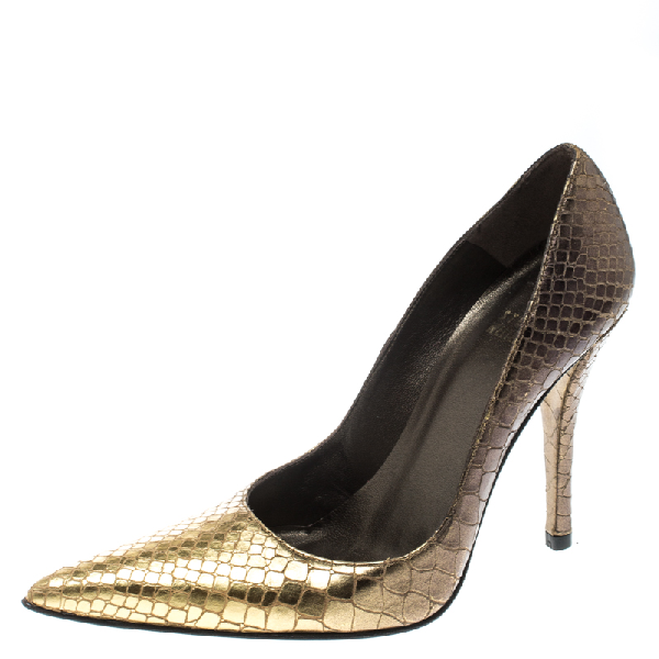 Stuart Weitzman Two Tone Python Embossed Leather Pointed Toe Pumps Size 35 In Gold
