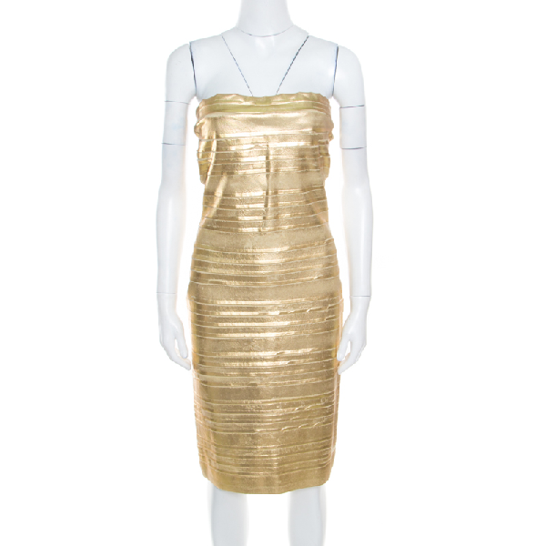 Blumarine Metallic Gold Foil Printed Textured Strapless Bodycon Dress M