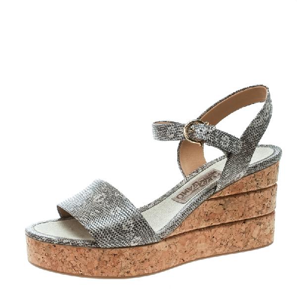 Salvatore Ferragamo Two Tone Embossed Lizard Leather Madea Cork Wedge Sandals Size 39.5 In Grey