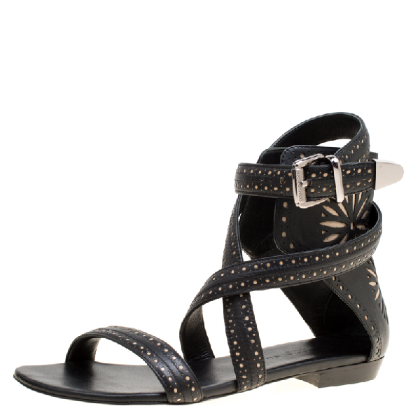 Barbara Bui Black Laser Cut Motif Perforated Leather Ankle Cuff Strappy Flat Sandals Size 37