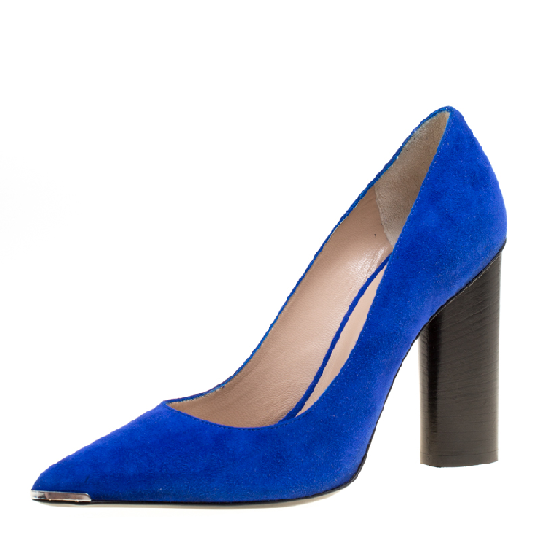 Barbara Bui Cobalt Blue Suede Metal Pointed Toe Block Heel Pumps Size 37