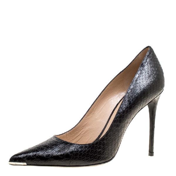 Barbara Bui Black Elaphe Leather Metal Pointed Toe Pumps Size 41