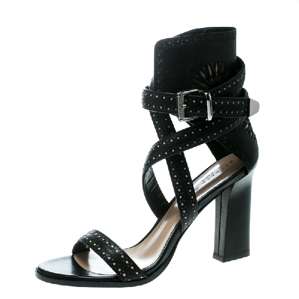 Barbara Bui Black Laser Cut Motif Perforated Leather Ankle Cuff Strappy Block Heel Sandals Size 37