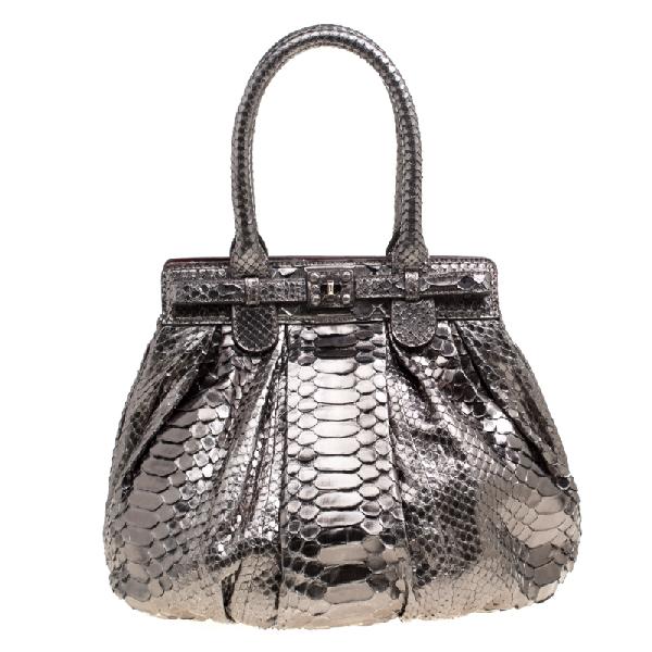 Zagliani Gun Metal Python Small Puffy Bag In Metallic