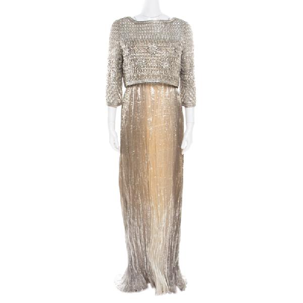 Oscar De La Renta Gold Lurex Pleated Strapless Dress And Textured Jacket Set L In Metallic