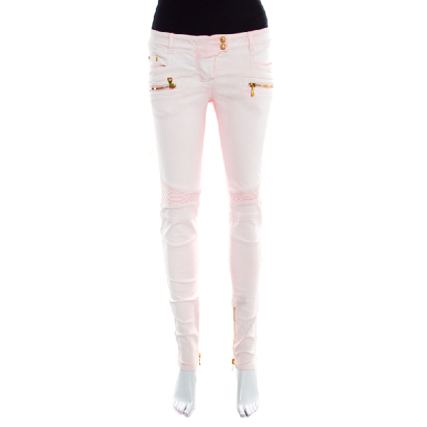Balmain Pink Coated Ribbed Panel Zip Detail Skinny Biker Jeans S