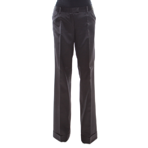 Barbara Bui Black Silk Wool Blend Pinstriped Wide Leg Trousers M