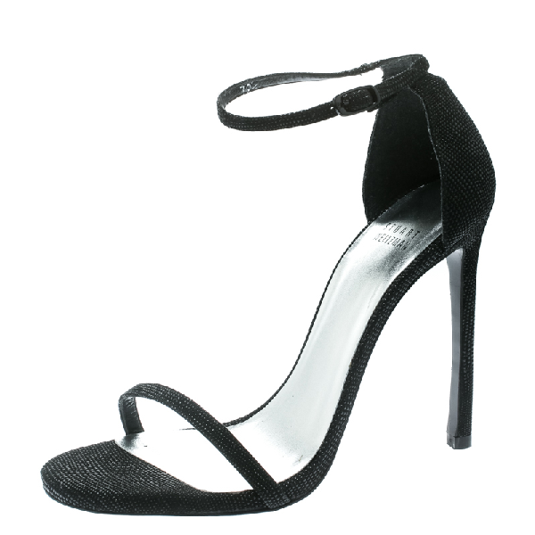 Stuart Weitzman Black Textured Suede Ankle Strap Open Toe Sandals Size 39.5