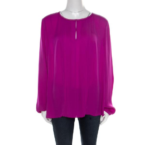 Diane Von Furstenberg Summer Beet Silk Pintuck Detail Blouse Xl In Purple
