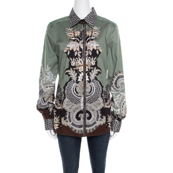 Etro Sage Green Floral Placement Print Button Front Shirt L