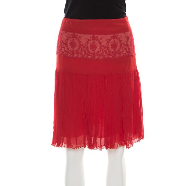 Blumarine Red Floral Lace Insert Crinkled Silk Skirt S