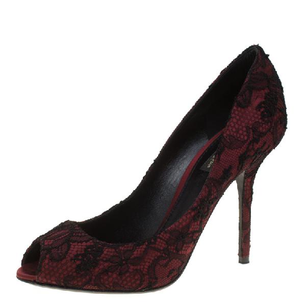 Dolce & Gabbana Burgundy Satin And Black Lace Peep Toe Pumps Size 38