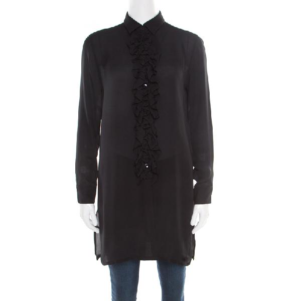 Etro Black Sheer Silk Ruffle Front Tunic Top S