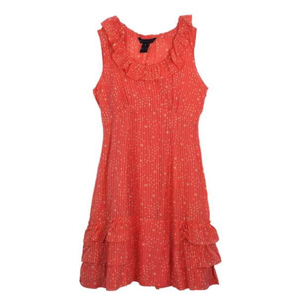 Marc By Marc Jacobs Brightest Coral Cosmo Print Cotton-silk Ruffle Dress M In Pink