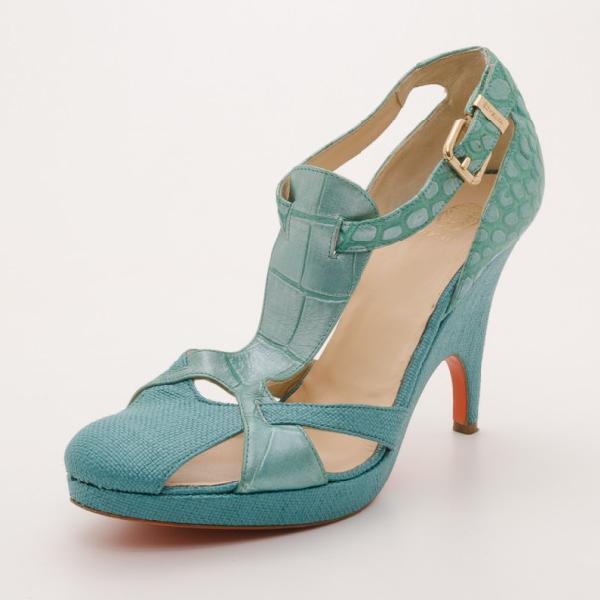 Versace Teal Raffia Croc Stamped Wedge Sandals Size 39.5 In Green