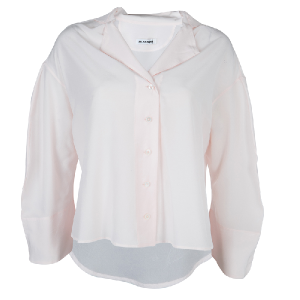 Jil Sander Pale Pink Long Sleeve Oversized Silk Blouse S