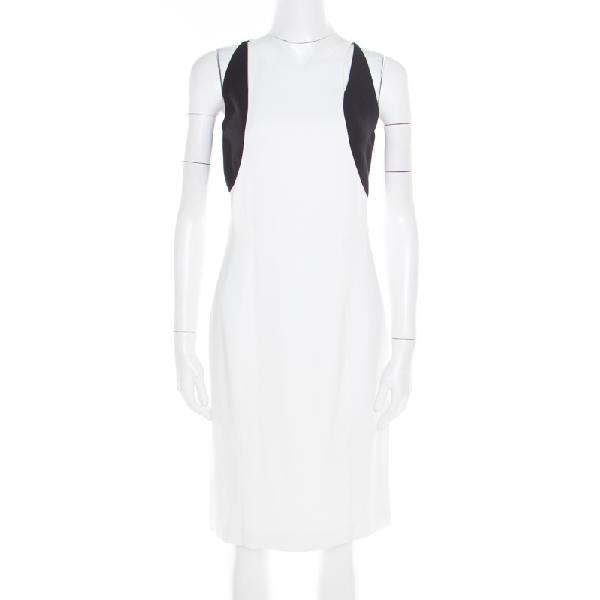 Jil Sander Monochrome Colorbolock Sleeveless Sheath Dress M In White