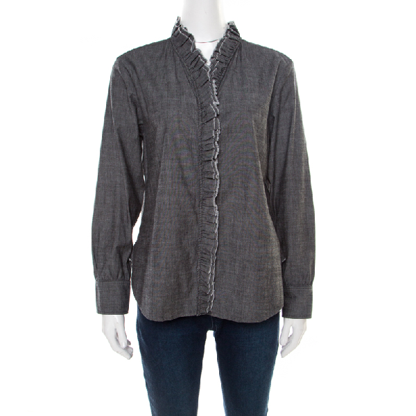 Isabel Marant Etoile Grey Chambray Ruffled Awendy Shirt L