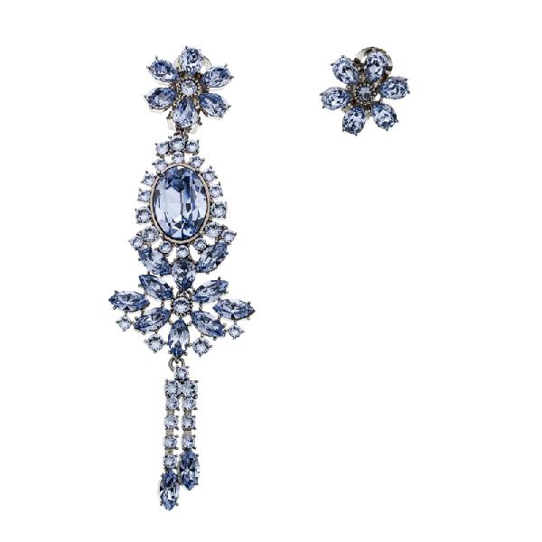 Burberry Flower Crystal Silver Tone Clip-on Asymmetric Stud Drop Earrings In Purple