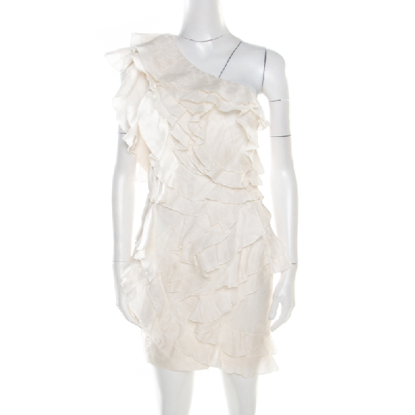 Isabel Marant Off White Floral Patterned Silk Ruffled Tiered One Shoulder Dress S