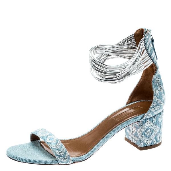 Aquazzura Light Blue Embroidery Demin Spin Me Around Strappy Sandals Size 39