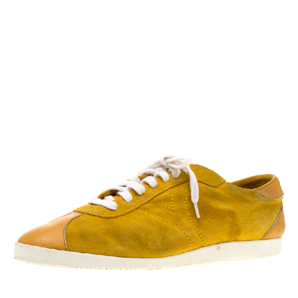 Saint Laurent Paris Yellow Suede And Leather Low Top Sneakers 44