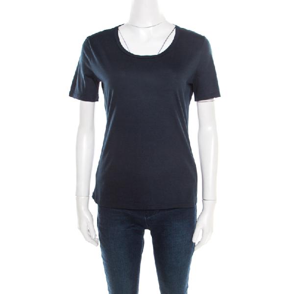 Jil Sander Navy Blue Cotton Crew Neck T -shirt Xl