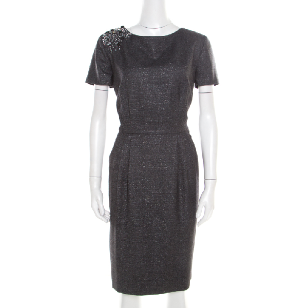 Blumarine Metallic Grey Embellished Shoulder Detail Dress M