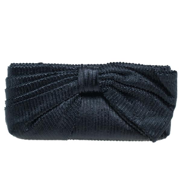 Valentino Garavani Black Pleated Oversized Bow Clutch Bag
