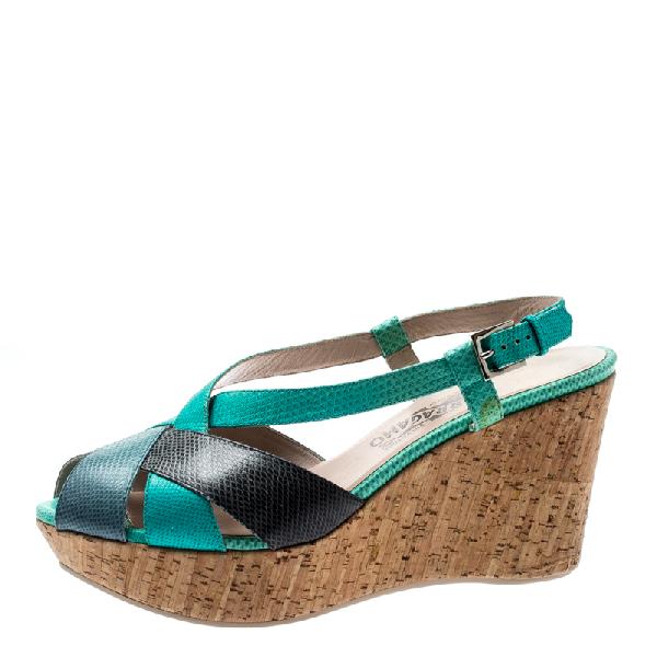 Salvatore Ferragamo Tricolor Lizard Leather Cross Strap Cork Wedge Sandals Size 41 In Green