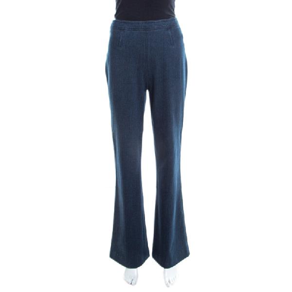 Diane Von Furstenberg Indigo Stretch Denim High Rise Flared Joan Jeans M In Navy Blue