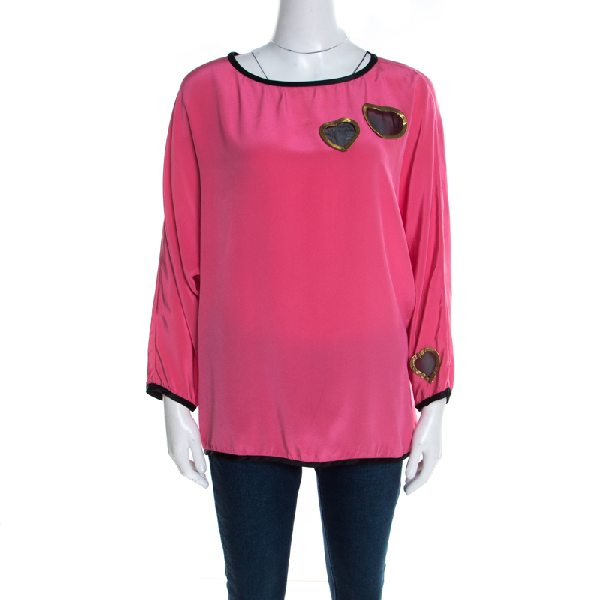 Marc Jacobs Pink Silk Contrast Heart Applique Dolman Sleeve Blouse L