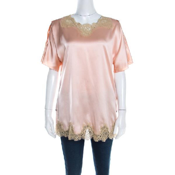 Dolce & Gabbana Peach Satin Silk Lace Trimmed Kimono Sleeve Blouse S In Pink