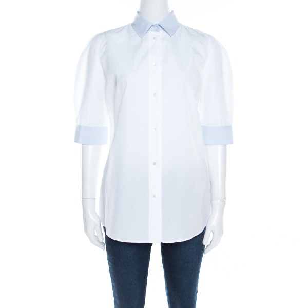 Dolce & Gabbana White Cotton Poplin Contrast Collar And Cuff Detail Shirt L