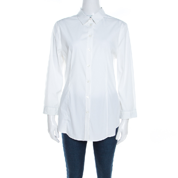 Burberry London White Stretch Cotton Long Sleeve Button Front Shirt M