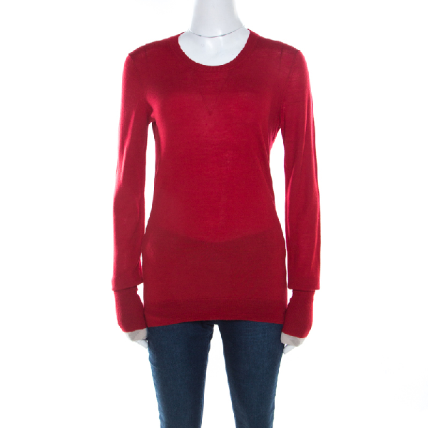 Burberry Brit Red Rib Knit Merino Wool Novacheck Trim Long Sleeve Sweater M