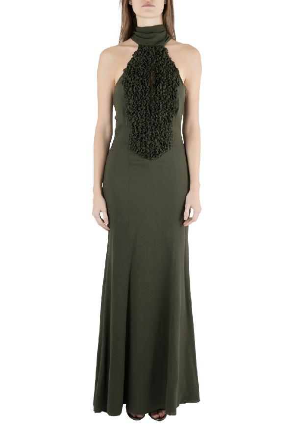 Valentino Olive Green Silk Ruffled Neck Halter Maxi Dress S