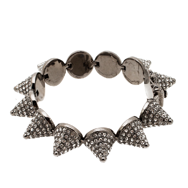 Eddie Borgo Crystal Pave Cone Gunmetal Tone Link Bracelet In Grey