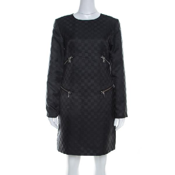 Marc By Marc Jacobs Dress Black Textured Check Twill Zipper Detail Shift Dress S
