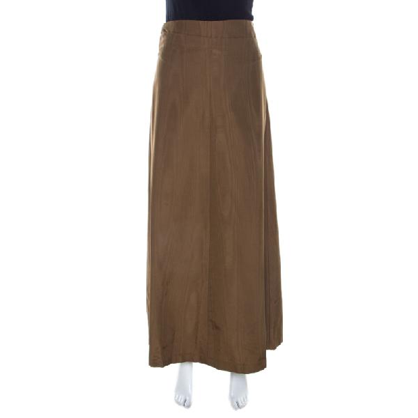 Dries Van Noten Bronze Gold Striped Cotton Blend Maxi Skirt S