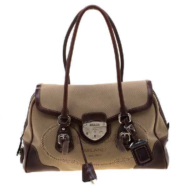 Prada Beige/brown Canvas And Leather Push Lock Satchel